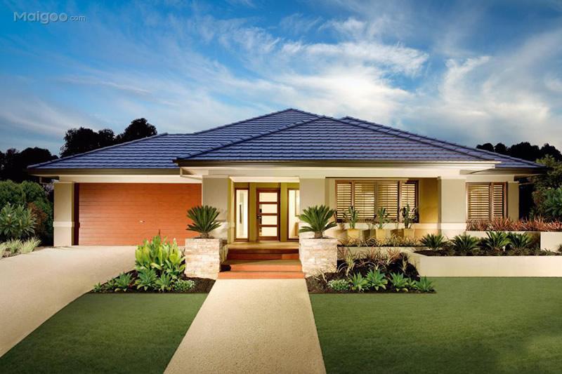 一层别墅外观效果图欣赏 农村单层小别墅设计图