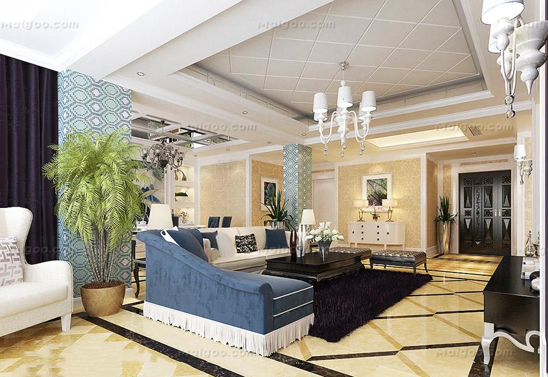 复式楼客厅吊顶隔断沙发区装修效果图(1/10)图片