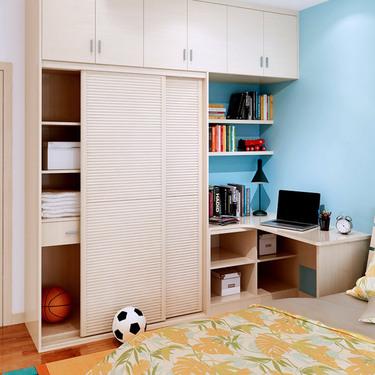 索菲亚卧室家具 整体衣柜+床+床头柜+转角书桌图片