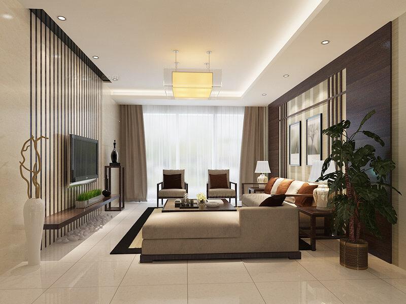 新中式风格客厅沙发背景墙装修效果图(1/4)