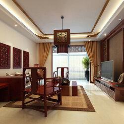 【中式装修效果图】80平米中式风格两室一厅装修效果图图片