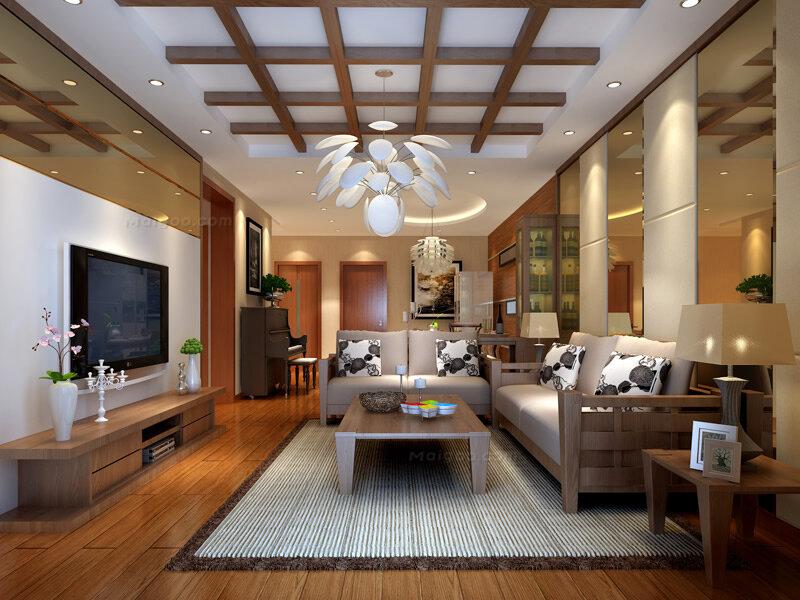 126平新中式风格三房两厅装修样板间效果图图片