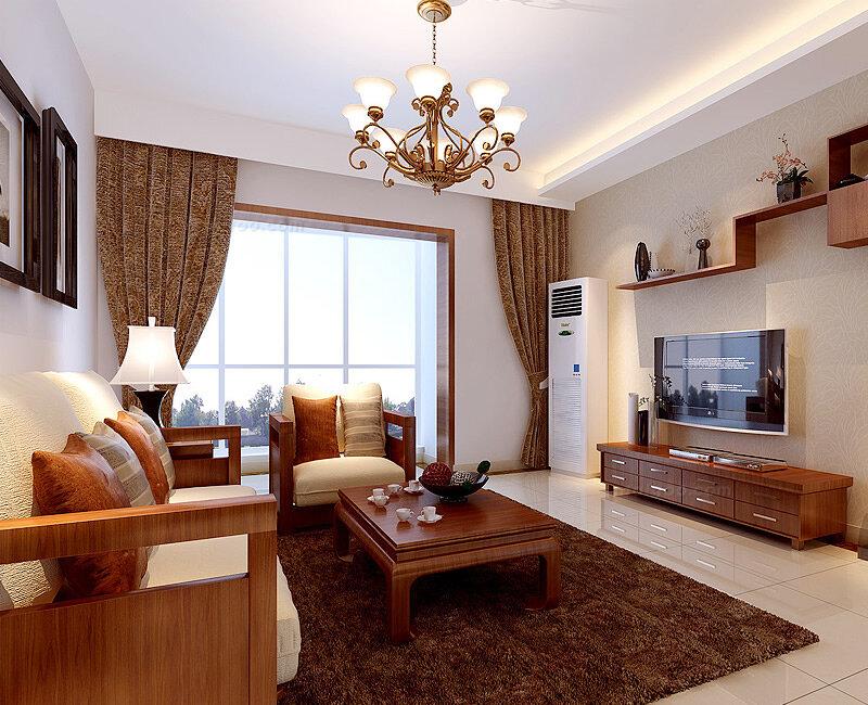 新中式风格三居室客厅背景墙装修效果图(1/4)