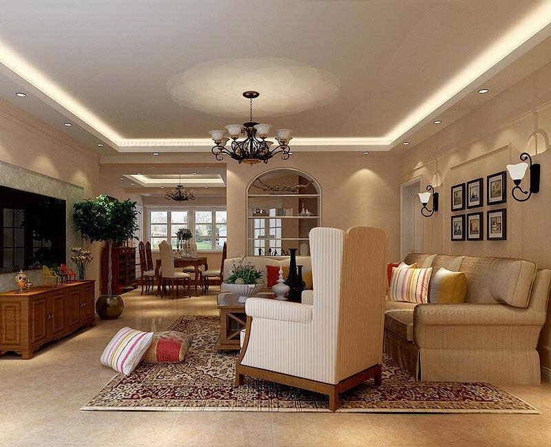美式风格三居室客厅电视背景墙装修效果图(1/4)