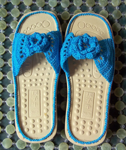 毛线凉拖鞋的编织方法 凉拖鞋的钩法图解