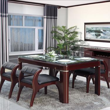 雙葉家具 現代中式實木餐桌 鋼化玻璃面板圖片